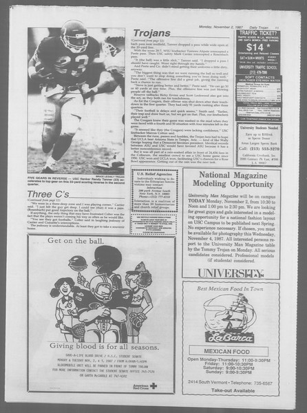Daily Trojan, Vol. 105, No. 42, November 02, 1987