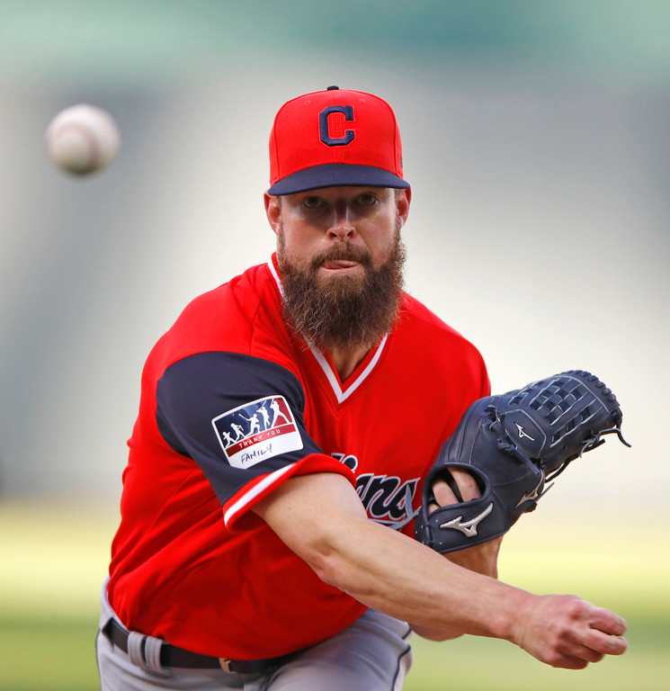 . Cleveland Indians starting pitcher Corey Kluber throws during the first inning of the team\'s baseball game against the Kansas City Royals on Saturday, Aug. 25, 2018, in Kansas City, Mo. (AP Photo/Charlie Riedel)