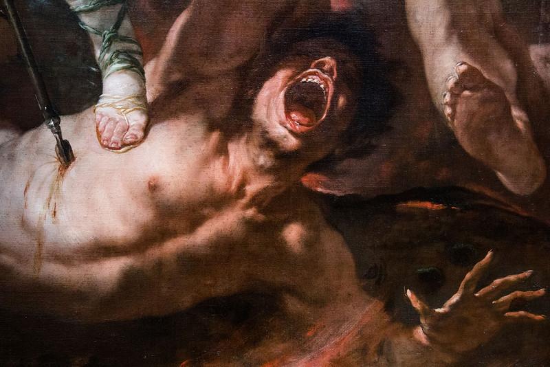 """Geschlagen schreien die Schuldigen panisch auf ... (""""Der hl. Michael"""", Luca Giordano, um 1663, noch in der Gemäldegalerie)"""