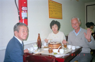 Having lunch with previous gentleman and an office staff member.