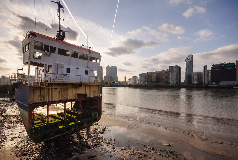 Artwork 'A slice of reality' on the River Thames