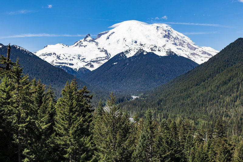 Mount Rainier and the surrounding forest and valleys of Mount Rainier National Park in Washington State