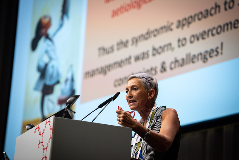 22nd International AIDS Conference (AIDS 2018) Amsterdam, Netherlands.   Copyright: Steve Forrest/Workers' Photos/ IAS  Photo shows: Linda-Gail Bekker, President of the IAS, speaking at the STI 2018 session.