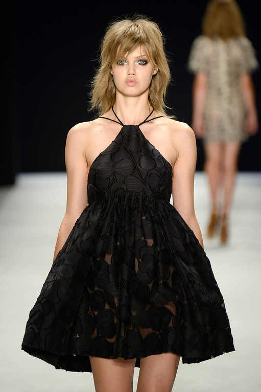 . Model Lindsey Wixson walks the runway at the Jill Stuart fashion show during Mercedes-Benz Fashion Week Spring 2014 at The Stage at Lincoln Center on September 7, 2013 in New York City.  (Photo by Frazer Harrison/Getty Images for Mercedes-Benz Fashion Week Spring 2014)