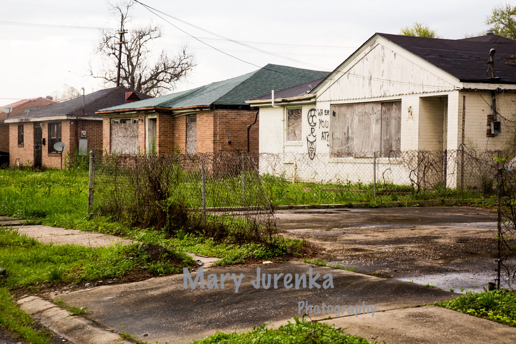 Ten Years after the Hurricane-Abandoned Homes in Katrina-Damaged Neighborhood in New Orleans