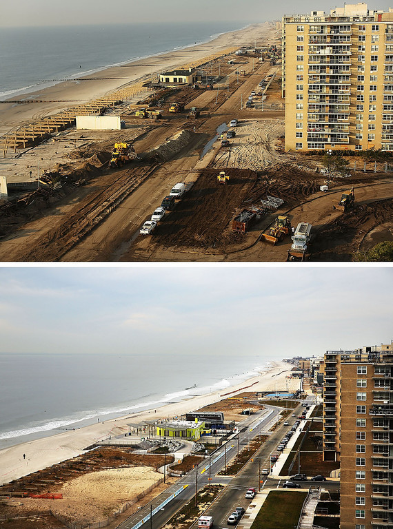 . NEW YORK, NY - OCTOBER 22: (top) Clean-up continues amongst piles of debris where a large section of the iconic boardwalk was washed away on November 10, 2012 in the Rockaway neighborhood of the Queens borough of New York City.  NEW YORK, NY - OCTOBER 22:  (bottom) Cars sit parked on the steet October 20, 2013, in the Rockaway neighborhood of the Queens borough of New York City. Hurricane Sandy made landfall on October 29 near Brigantine, New Jersey and affected 24 states from Florida to Maine and cost the country an estimated $65 billion.  (Photos by Spencer Platt/Getty Images)