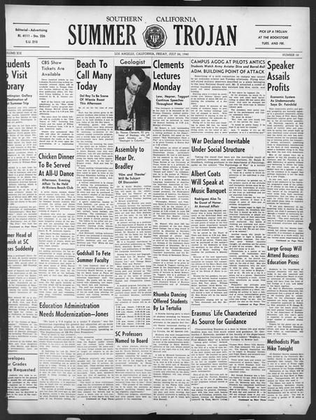 Summer Trojan, Vol. 19, No. 10, July 26, 1940