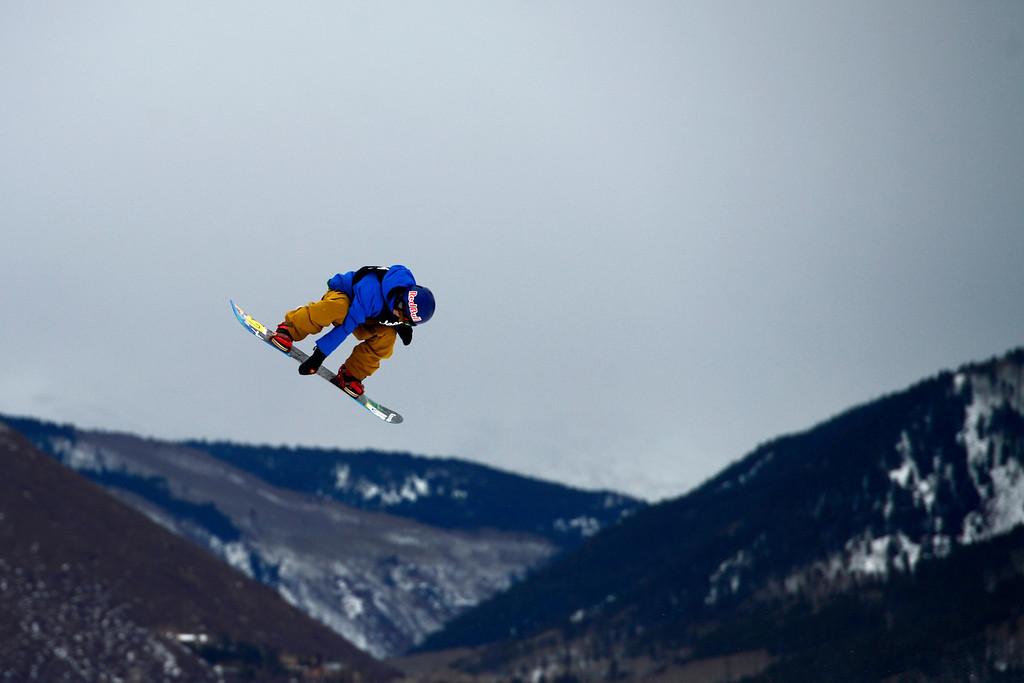 . ASPEN, CO. - JANUARY 24: Roope Tonteri skies during the men\'s Snowboard Slopestyle elimination. Men\'s Snowboard Slopestyle elimination X Games Aspen Buttermilk Mountain Aspen January 24, 2013. (Photo By AAron Ontiveroz / The Denver Post)