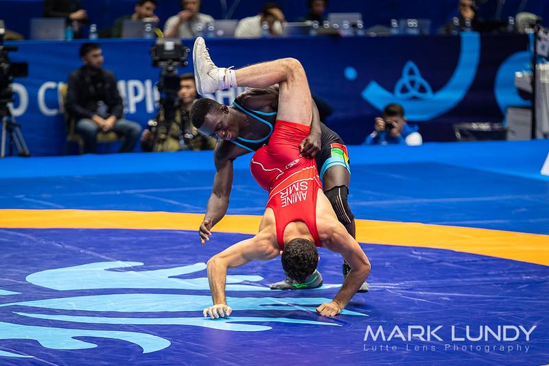 Champ. Round 1: Malik Michael Amine (SAN MARINO) over Mbunde Cumba Mbali (GUINEA)  •  Dec 14-11 - 2019 World Championships