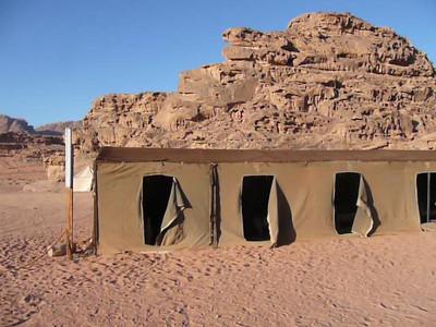Jordan, Wadi Rum desert camp panorama