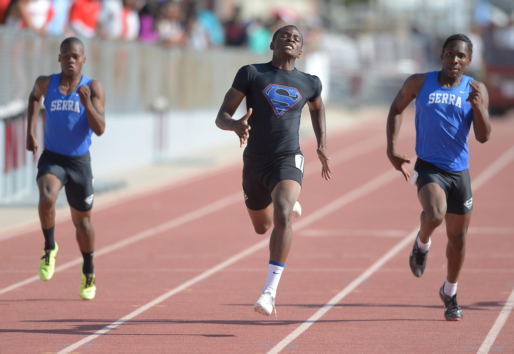 . Serra\'s Darrell Fuery, center, wins  the 200 meter Division 4 race of the CIF Southern Section Track and Field Championships over teammates Adoree Jackson, right, (second) and Ronny Hall, left, Saturday at Mt. SAC. 20130518 Photo by Steve McCrank / Staff Photographer