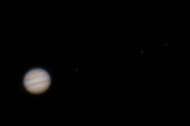 Jupiter at Opposition with three Galilean Moons - 6/2/2015 (Processed cropped stack)