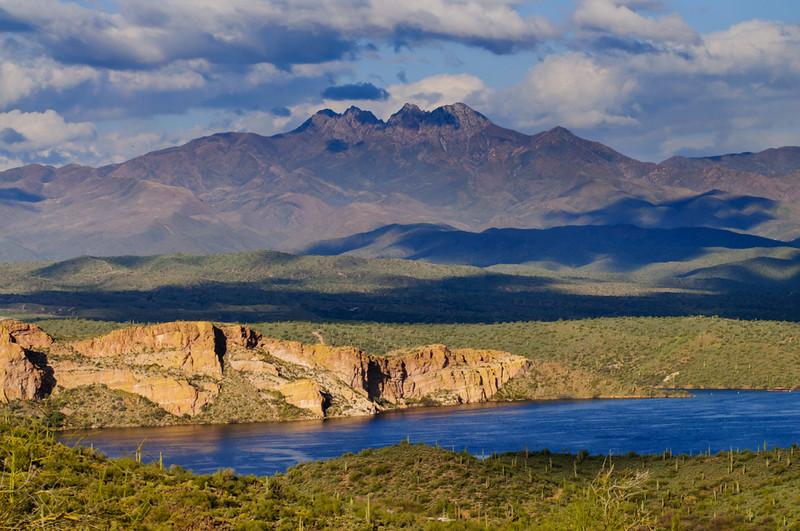 Four Peaks with Saguaro Lake, photography by Tony Marinella