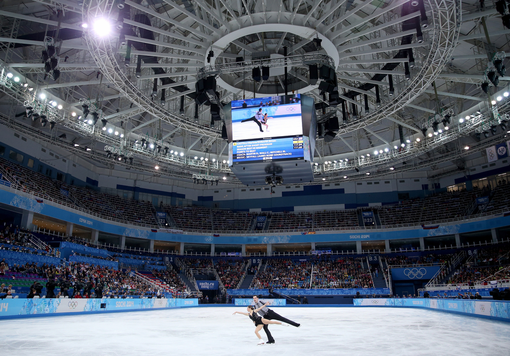 . Marissa Castelli and Simon Shnapir of the United States compete in the Figure Skating Pairs Free Skating during day five of the 2014 Sochi Olympics at Iceberg Skating Palace on February 12, 2014 in Sochi, Russia.  (Photo by Matthew Stockman/Getty Images)