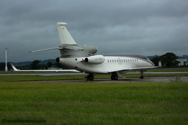 """LX-MES Dassault Falcon 7X Global Jet Luxembourg Glasgow Airport 04/07/15 Owned by Roman Abramovich, nicknamed """"Mini Bandit""""."""