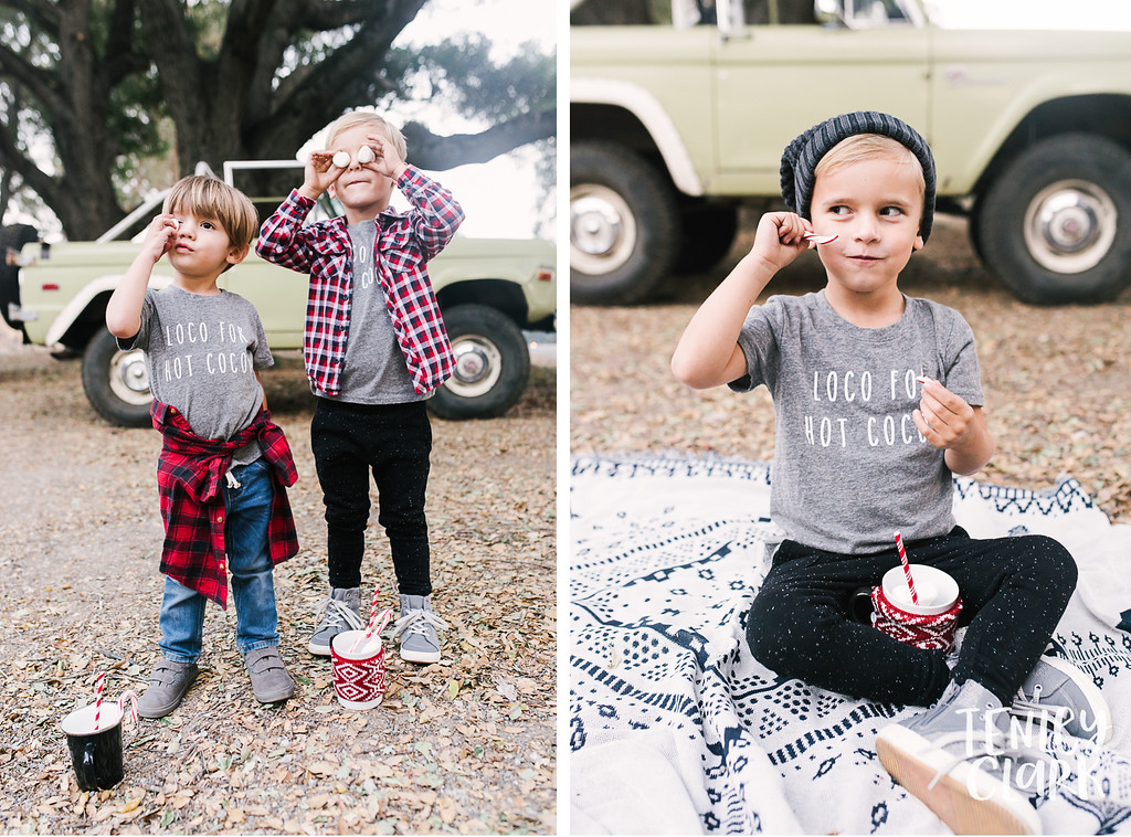 Little boys hot coca and marshmallows. Playful kids fashion commercial brand shoot  for B+C California a kids t-shirt company in Bay Area by Tenley Clark Photography.