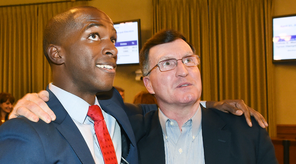 . Pasadena candidate for City Council District 1 with Richard McDonald looking at television monitor with a vote lead against Calvin Wells during election night at Pasadena City Hall Tuesday, April 21, 2015. (Photo by Walt Mancini/Pasadena Star-News)