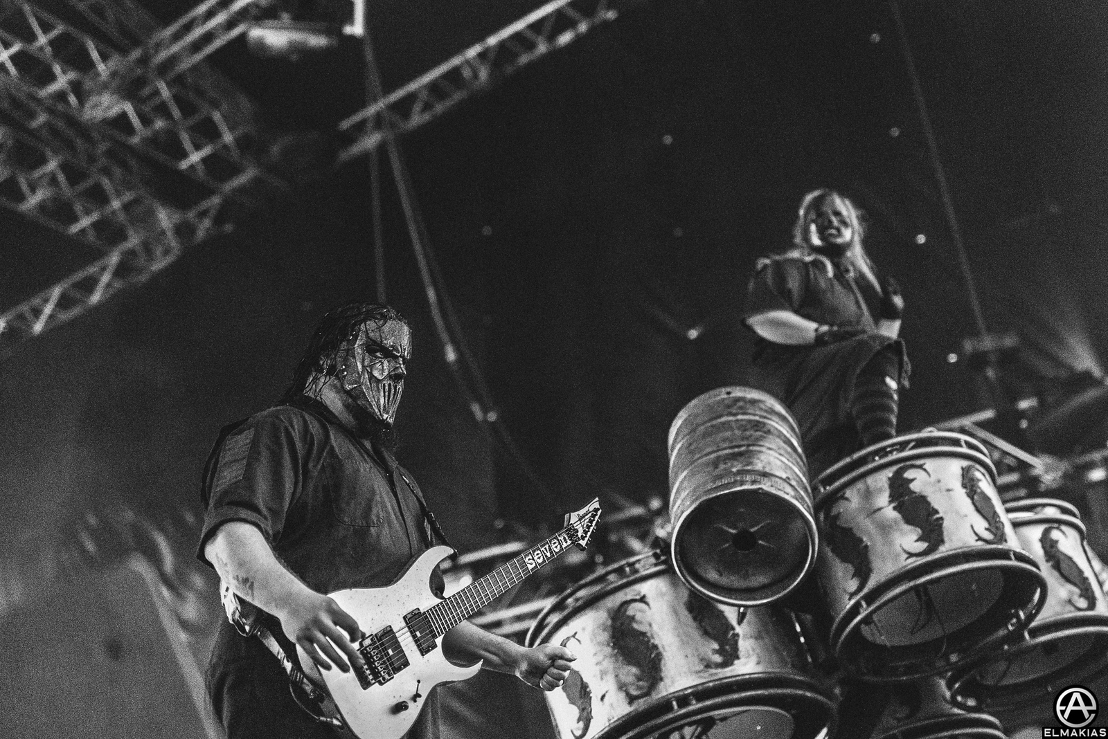 "Mick Thompson and Shawn ""Clown"" Crahan of Slipknot"