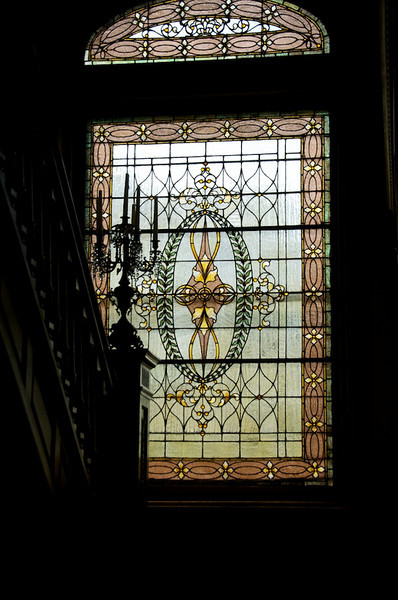 Wiedemann Hill Mansion - Stained glass window on landing  to 2nd floor