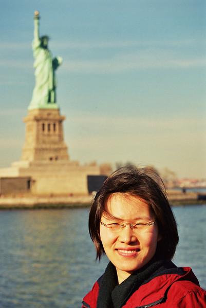 2002 January New York MiJung near statue of liberty.jpg