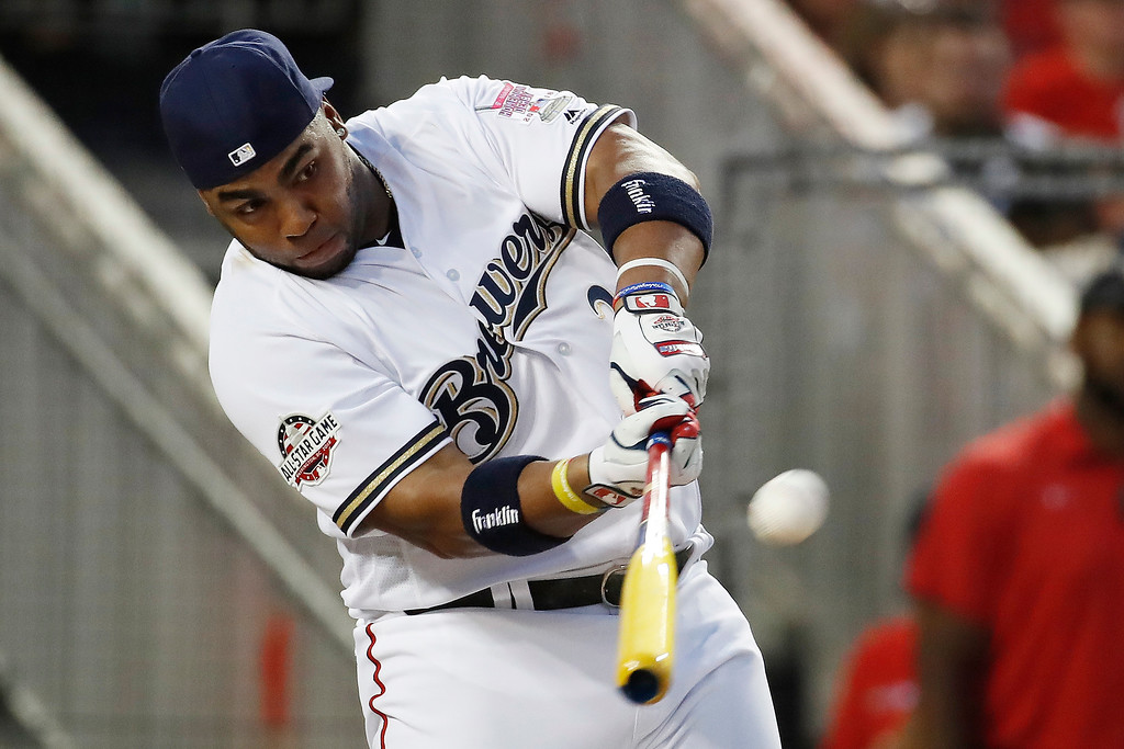 . Milwaukee Brewers Jesús Aguilar hits during the MLB Home Run Derby, at Nationals Park, Monday, July 16, 2018 in Washington. The 89th MLB baseball All-Star Game will be played Tuesday.(AP Photo/Alex Brandon)
