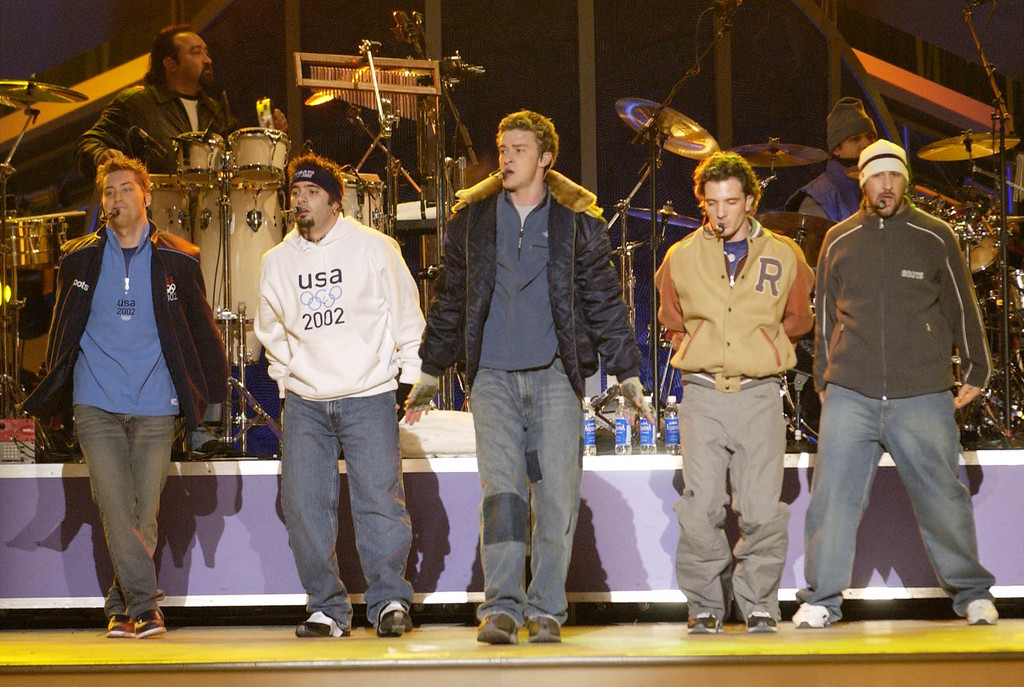 . The pop group N\'Sync performs at the awards celebration of the Salt Lake City Winter Olympics in downtown Salt Lake City, Saturday, Feb. 23, 2002. (AP Photo/Darron Cummings)