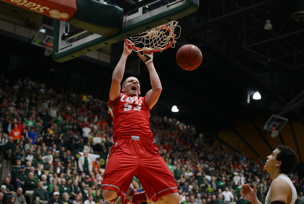 . Fort COLLINS, CO. - FEBRUARY 23: New Mexico Alex Kirk dunks the ball during first half action at Moby Arena in Fort Collin, CO February  24, 2013. The Colorado State Rams lost to the New Mexico Lobos 91-82. (Photo By Craig F. Walker/The Denver Post)
