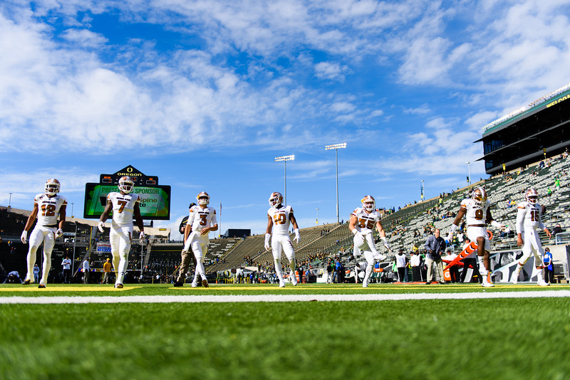 The Sun Devils warm up before kickoff. The Arizona State Sun Devils face the Oregon Ducks at Autzen Stadium in Eugene, Oregon on October 29, 2016. (Michael Arellano/DieHard Devil)