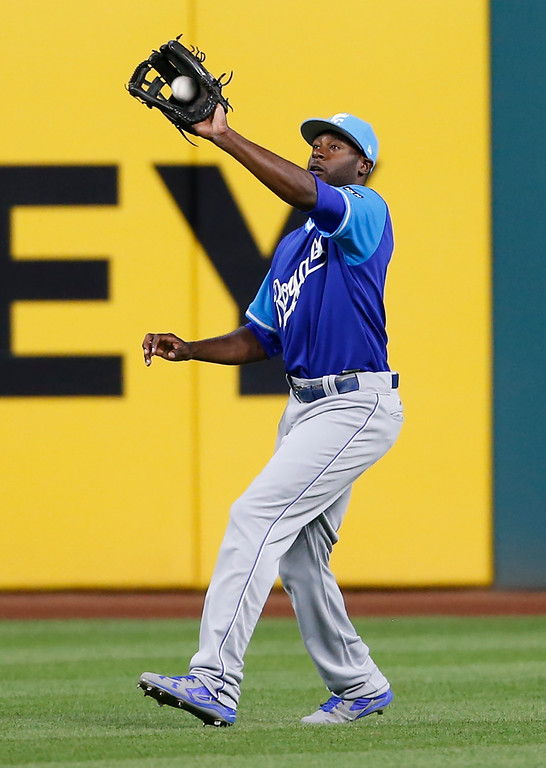 . Kansas City Royals\' Lorenzo Cain makes a catch to get out Cleveland Indians\' Austin Jackson during the sixth inning in a baseball game, Saturday, Aug. 26, 2017, in Cleveland. (AP Photo/Ron Schwane)