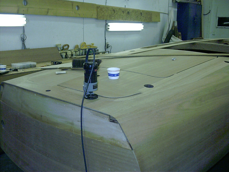 Router jig for routing rear deck seam.