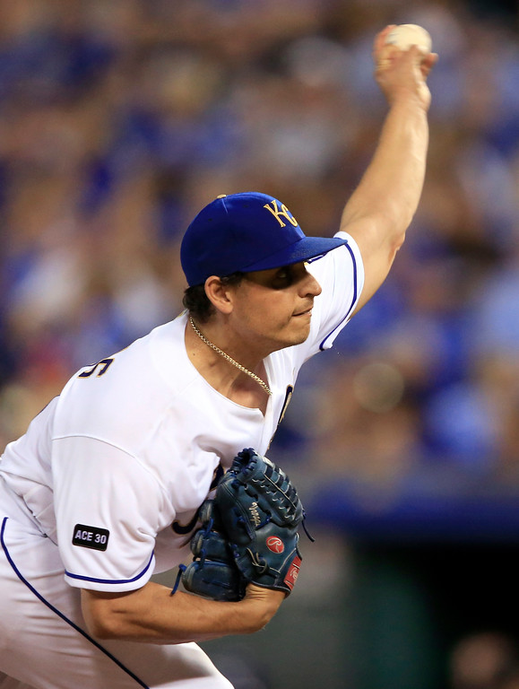 . Kansas City Royals starting pitcher Jason Vargas delivers to a Cleveland Indians batter during the ninth inning of a baseball game at Kauffman Stadium in Kansas City, Mo., Friday, June 2, 2017. The Royals defeated the Indians 4-0. (AP Photo/Orlin Wagner)