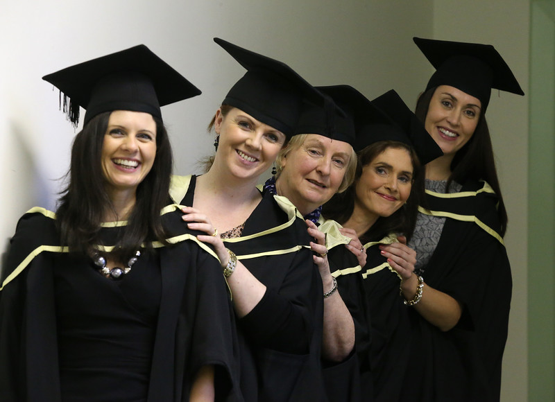 Pictured are Paula Darcy, Gorey, Vicky Barron, Wexford, Marie Byrne, Wexford, Mary Griffin-Crowe, Tralee, Ruth Deane, Cork who graduated Master of Arts in Management in Education. Picture: Patrick Browne.