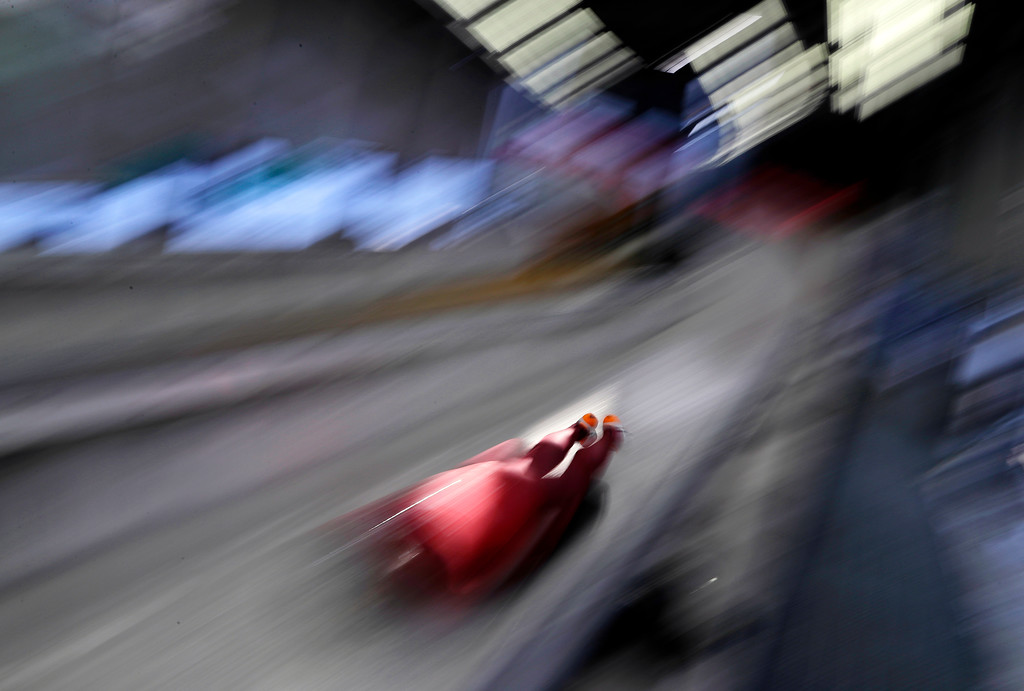 . Vladislav Marchenkov of the Olympic Athletes of Russia practices during a training run for the men\'s skeleton at the 2018 Winter Olympics in Pyeongchang, South Korea, Tuesday, Feb. 13, 2018. (AP Photo/Wong Maye-E)