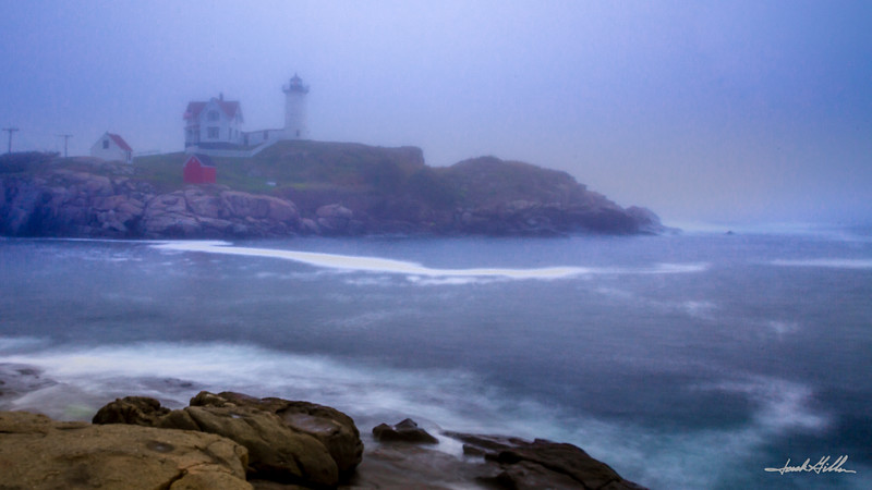 Cape Neddick (Nubble) Light (1879), seen thru the light fog