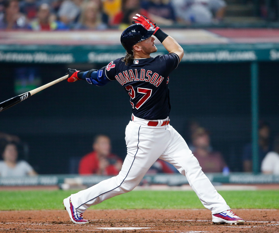 . Cleveland Indians\' Josh Donaldson hits a solo home run off Detroit Tigers starting pitcher Matthew Boyd during the sixth inning of a baseball game, Friday, Sept. 14, 2018, in Cleveland. (AP Photo/Ron Schwane)