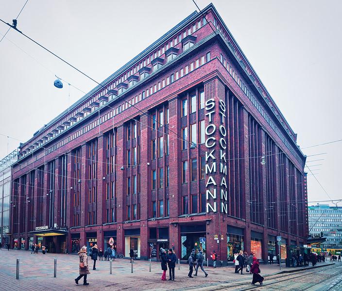Helsinki Finland - March 8 2017: Stockmann flagman shopping center in Helsinki Finland in winter.