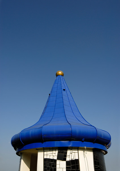 Blue-roof Turret at Rogner Thermal Spa and Hotel Designed by Friedensreich Hundertwasser in Bad Blumau, Austria