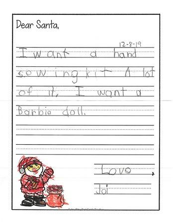 Letters to Santa, Mrs. Onstott's kindergarten, 12/12/2017
