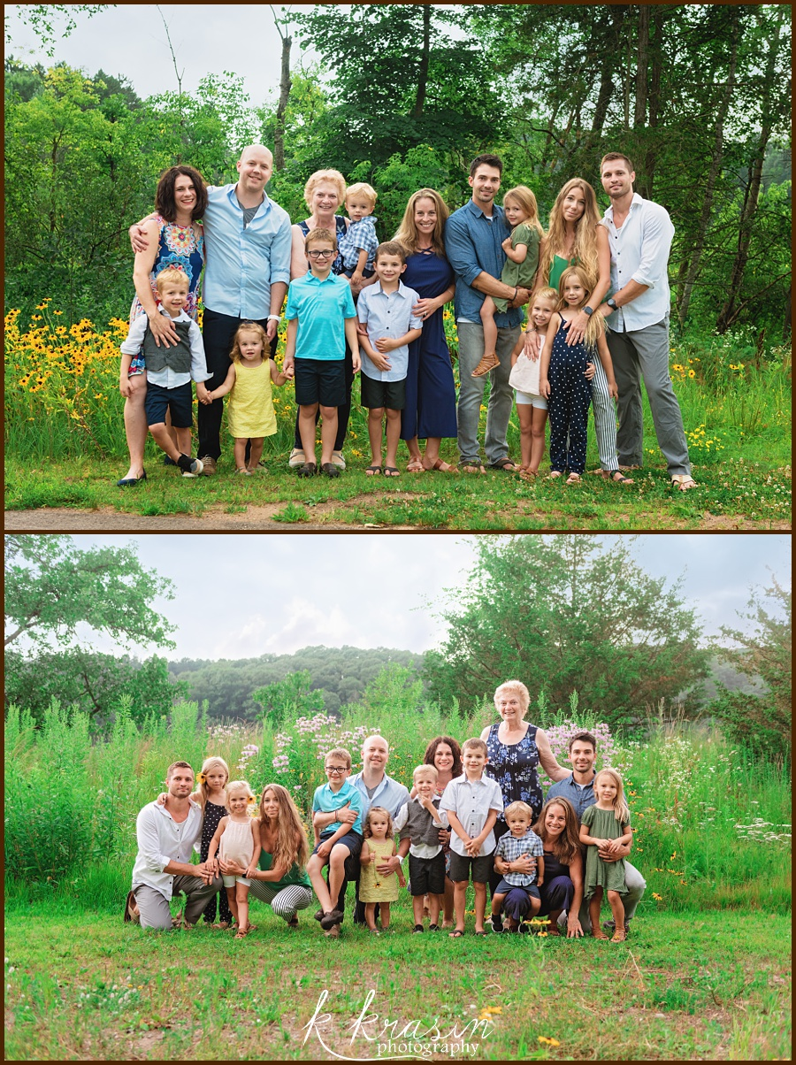 Collage of photos of grandma, siblings, spouses, and grandkids