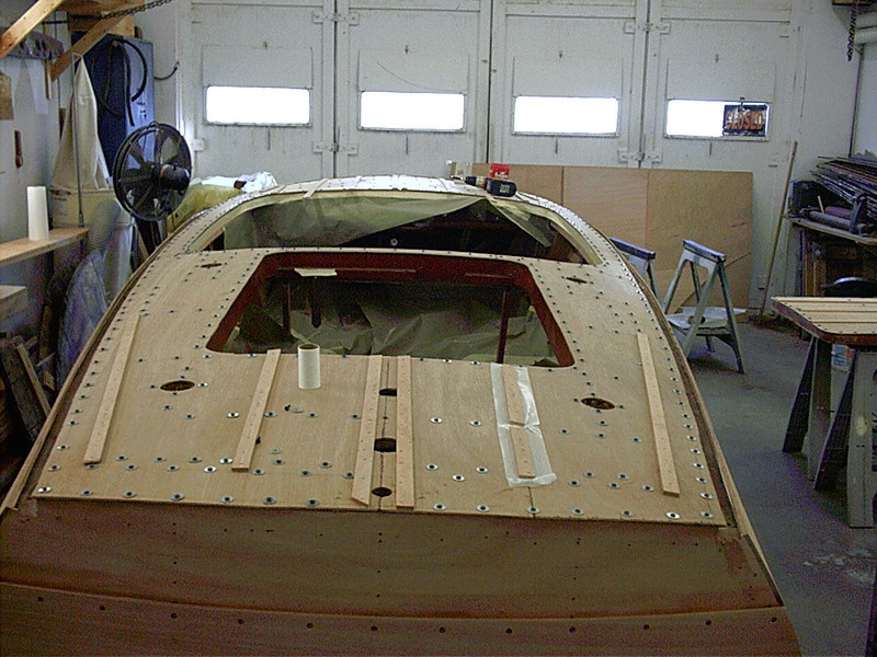Rear deck plywood fit and glued in place.