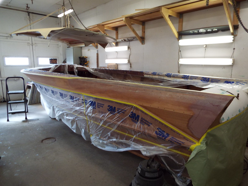 Port rear view of the top plank ready to have three coats of epoxy applied so that area can be painted white.