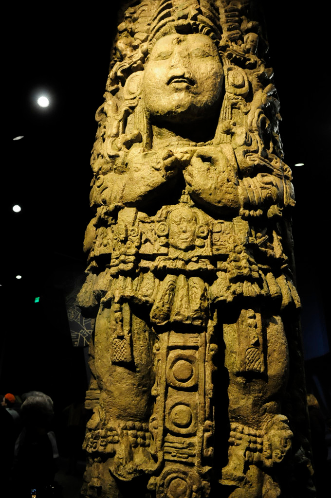 . A replica of a stone stella from Copan Honduras, A.D. 731. The stella depicts the King of Copan with two bags hanging from his belt, holding blood-letting ritual tools.   (Pioneer Press: Scott Takushi)