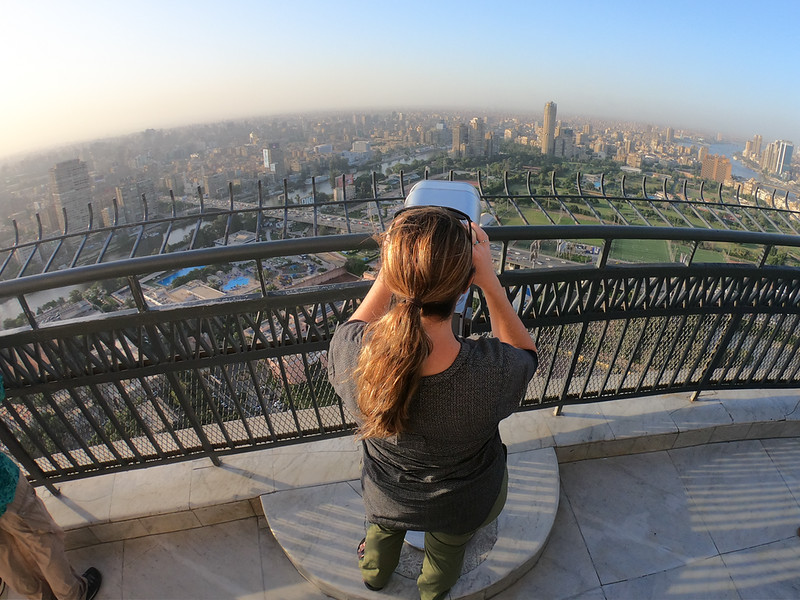 LIna Stock of Divergent Travelers Adventure Travel blog at the Cairo Tower in Egypt
