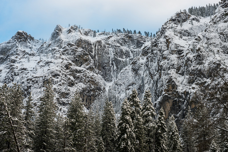 Snow covered cliffs. Taken from Valley View