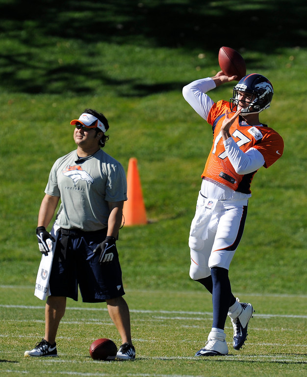 . Denver Broncos quarterback Brock Osweiler (17) throws a pass during  practice October 23, 2013 at Dove Valley. (Photo by John Leyba/The Denver Post)