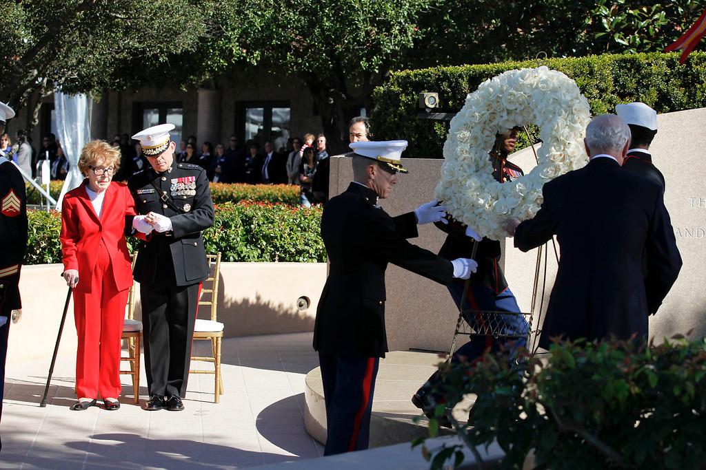 . File - Nancy Reagan arrives at the Reagan Library for  the 100th birthday celebration of President Ronald Reagan at the Reagan Library in Simi Valley, CA Sunday, February 6, 2011.    (Photo by Chris Carlson/Pool)