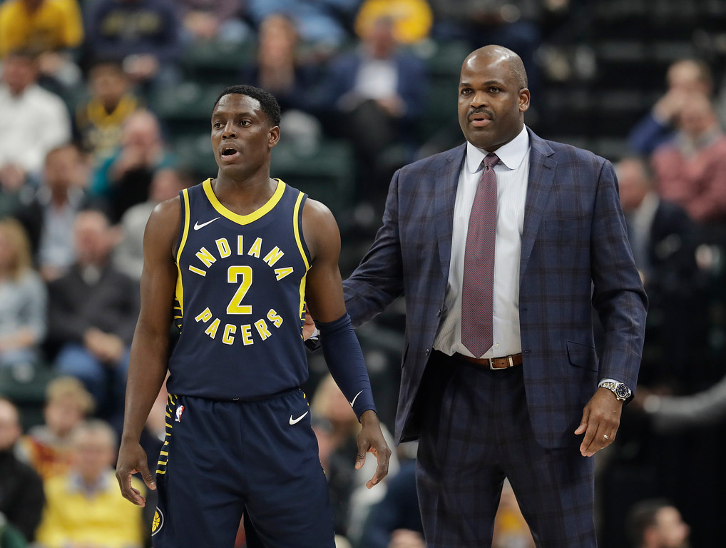 . Indiana Pacers coach Nate McMillan talks with guard Darren Collison during the first half of the team\'s NBA basketball game against the Cleveland Cavaliers, Friday, Dec. 8, 2017, in Indianapolis. (AP Photo/Darron Cummings)