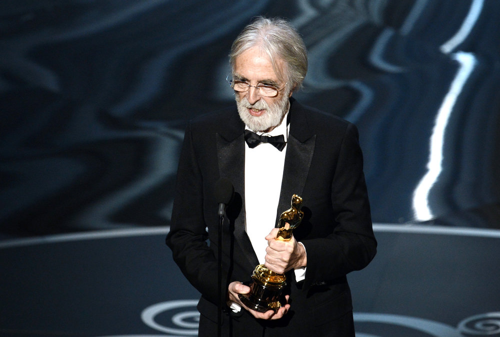 ". Director Michael Haneke accepts the Best Foreign Language Film award for ""Amour\"" onstage during the Oscars held at the Dolby Theatre on February 24, 2013 in Hollywood, California.  (Photo by Kevin Winter/Getty Images)"