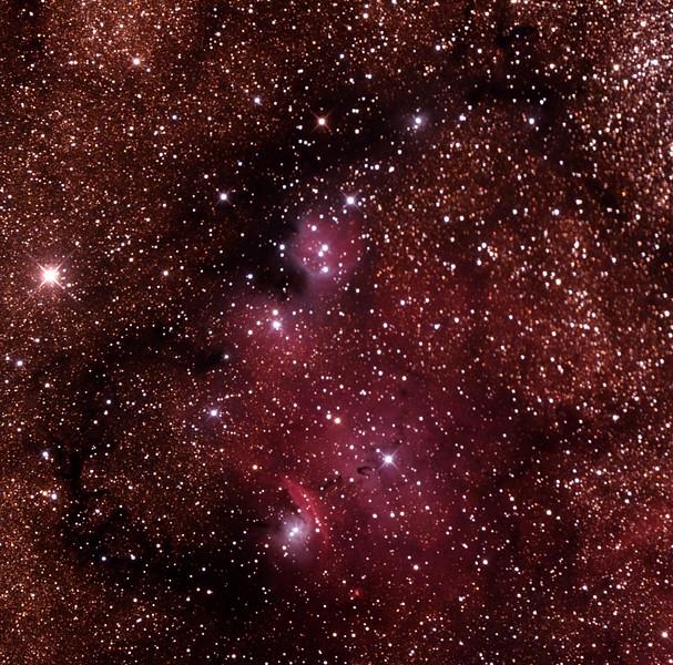 IC1274-5 Gum75 & NGC6429 Nebula with IC4685 Dark Nebula in Sagittarius (near M8 Lagoon Nebula) - 25/9/2014 (Processed cropped stack)