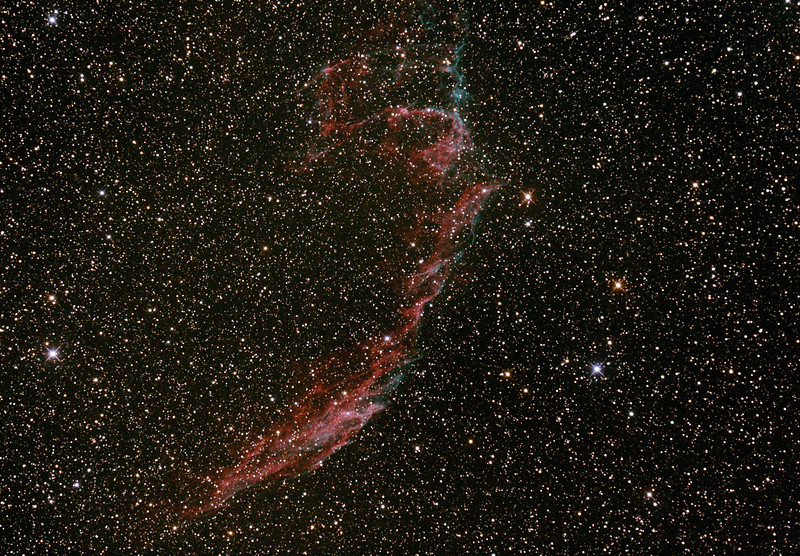 Caldwell C33 - NGC6992/6995 - IC1340 - Eastern Veil Nebula (Supernova Remnant) - 14/8/2015 (Processed cropped stack)